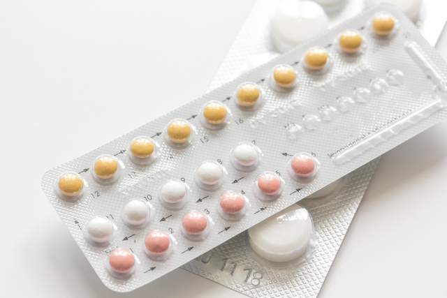 packet of colorful birth control pills