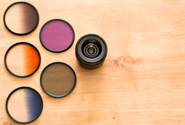 a variety of colored lens filters