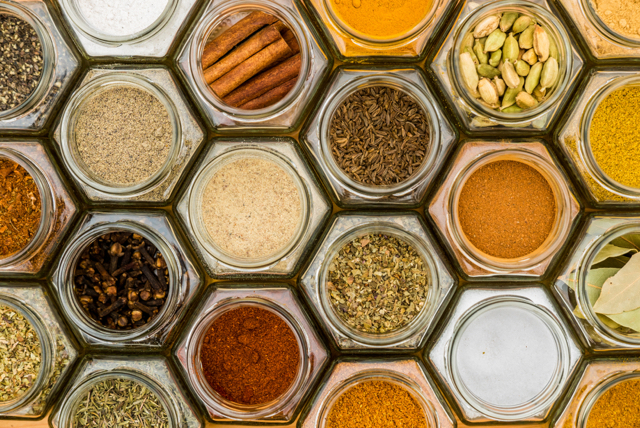 a variety of spices from above